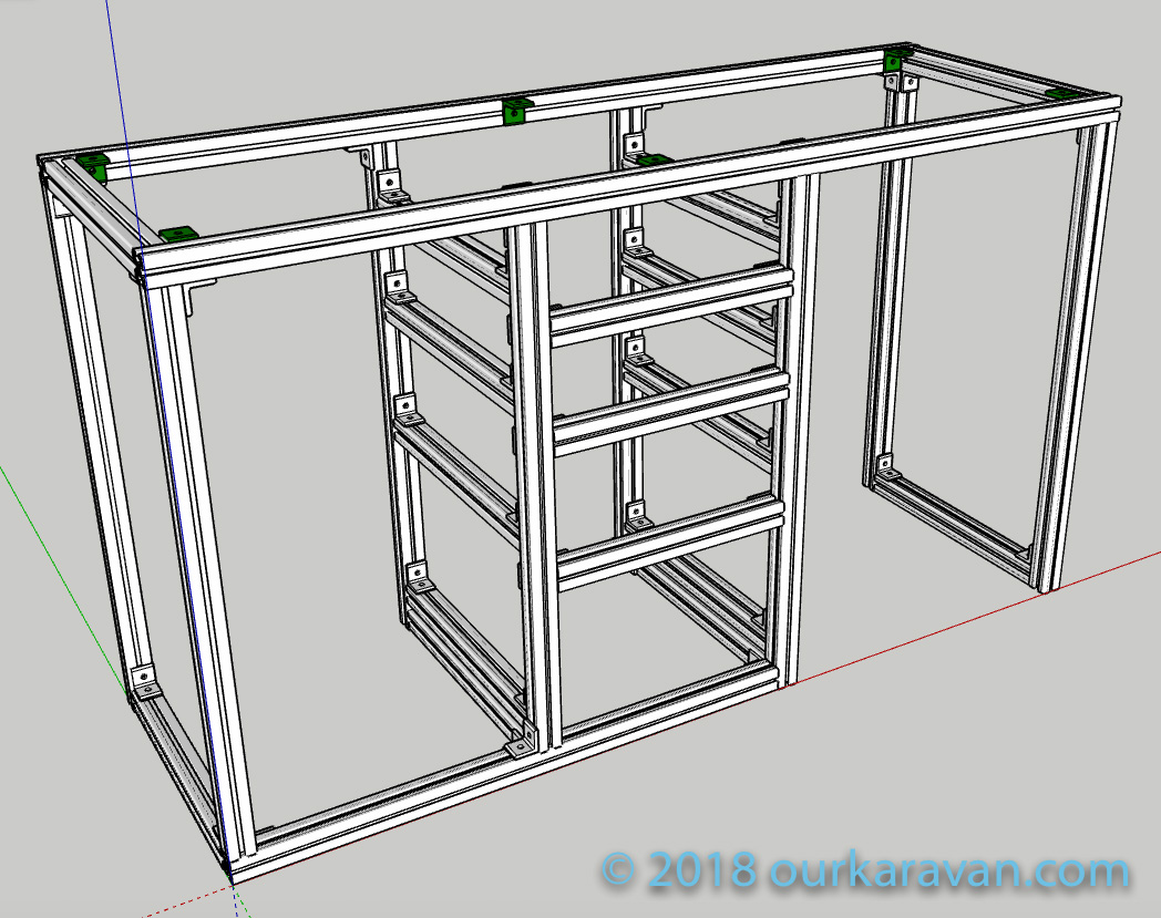 80/20 Extruded Aluminum Van Cabinet Model and Plans | OurKaravan